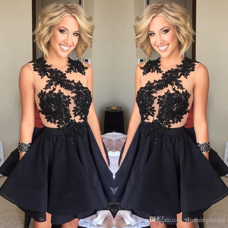 agreatvarietyofmodels durable in use aliexpress Black Homecoming Dresses 2017 Sheer Crew Neckline Transparent Lace  Appliques Beading Chiffon Short/Mini Cocktail Dresses Graduation Dresses  Light Blue ...