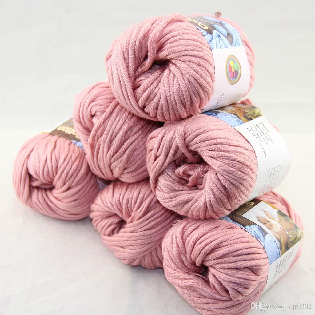 Много 6 BallsX50g специального толстая камвольно 100% хлопок вязание пряжа розовый сапфир 2206