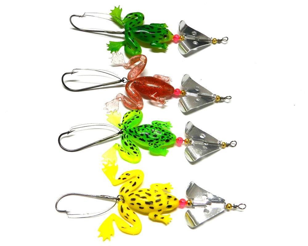 venta al por mayor de la rana spinner cuchara caliente pesca señuelos suave cebo de plástico blando insectos Pesca Señuelos cebo spinner
