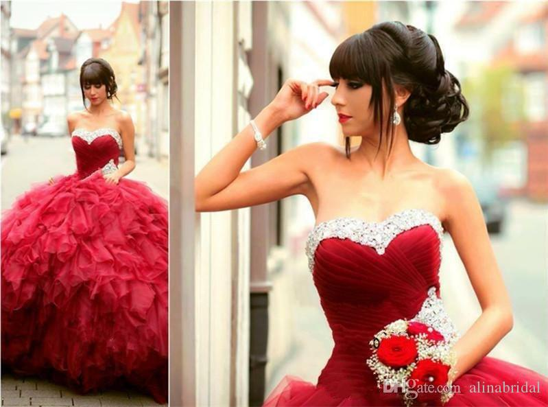 Hot Sale Red Quinceanera Dresses 2018 Sweetheart Beaded Cascading Ruffles Tulle Ball Gown Sweet 16 Gorgeous Prom Pageant Dress