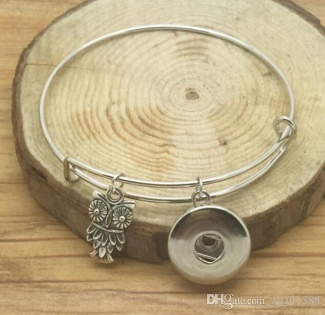 Vintage Silver Snaps Кнопки OWL Подвеска расширяемой браслет браслеты для электромонтажных браслеты 12pcs способа женщин ювелирных подарки Аксессуары DIY Z31