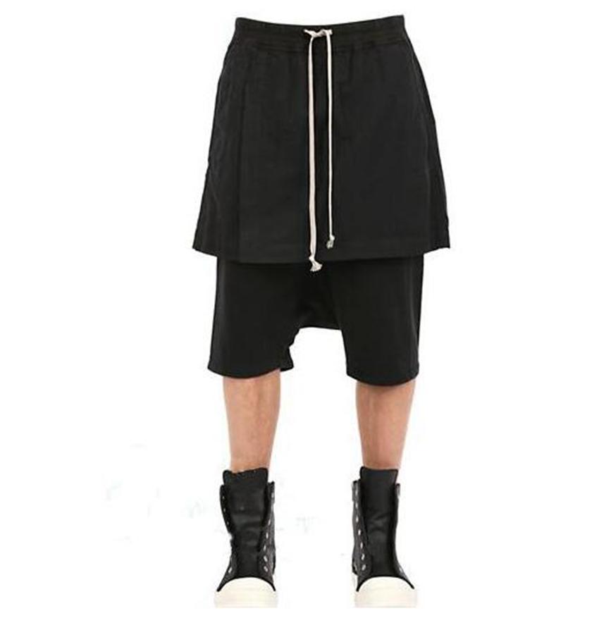 남성과 여성의 여름 패션 개성이 무릎 포크 사이드 7 포인트 낮은 퀼로트 false 두 바지 / 사용자 정의 나누기를 통해