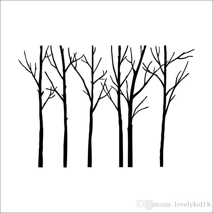 ... Large Big Tree Wall Stickers Black Tree Wall Decals Wallpaper Mural Art  For TV Background Home ...