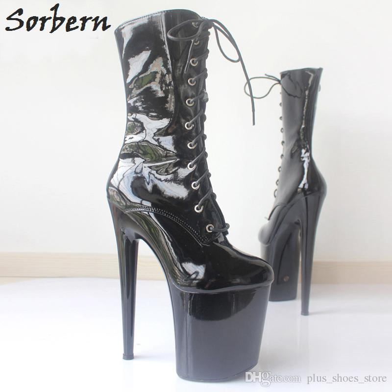 Sorbern New Style Winter Boots Lady Gaga Extreme High Heels Platform Boots Lace Up Pole Dancing Ankle Boots Side Zip Black Plus Size