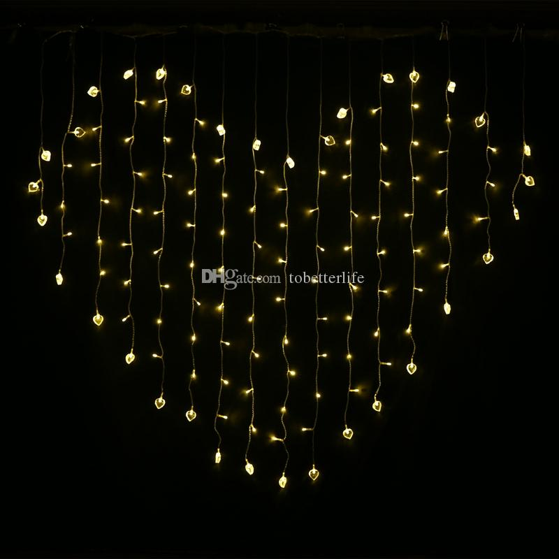 free shipping 2e216 d50c5 Led Novelty String Lights Heart Shaped Fairy Curtain Lights Red Purple WW  Xmax Party Home Wedding Led Lamps With End Joint And Controller White  String ...