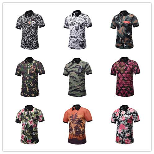 Venta al por mayor nuevo 3D hombres Polo manga corta camiseta tamaño T impresión digital sudor corto media manga camiseta cuello