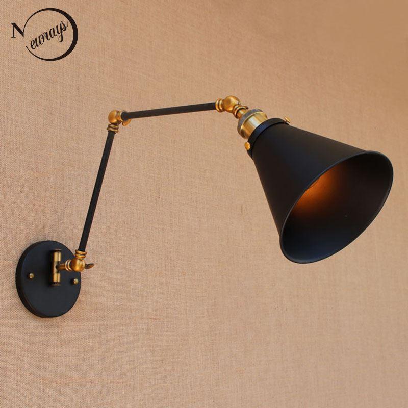 Retro antique black adjustable long head swing arm vintage wall lamp e27 lights sconce for bedroom bathroom dining room bar cafe