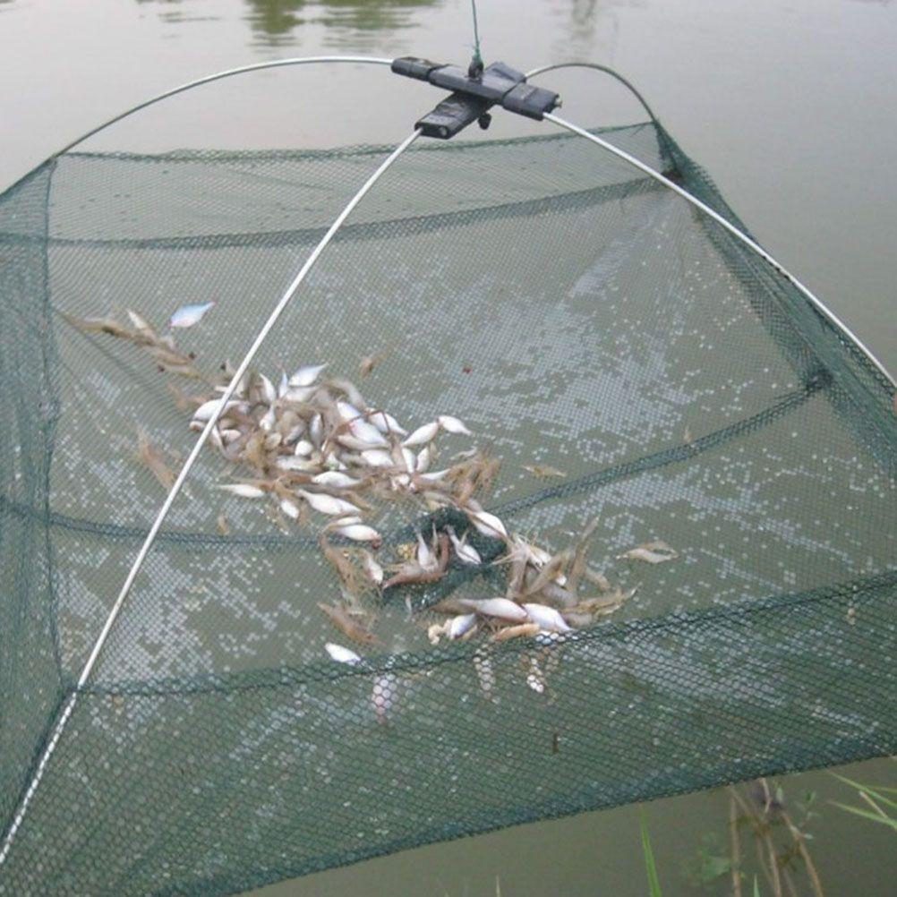 2 Sizes Fishing Nets Foldable Mesh Baits Trap Cast Dip Net Crab Shrimp Smelt Eel Crab Lobster Minnows Shrimp Crawfish Net