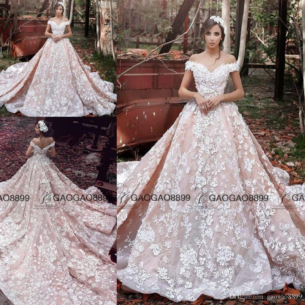 Ziad Nakad 2019 Vintage Blush 3D Floral Princess Cathedral Ball Gown Wedding Dresses Plus Size Off-shoulder Garden Wedding Gowns Elie Saab
