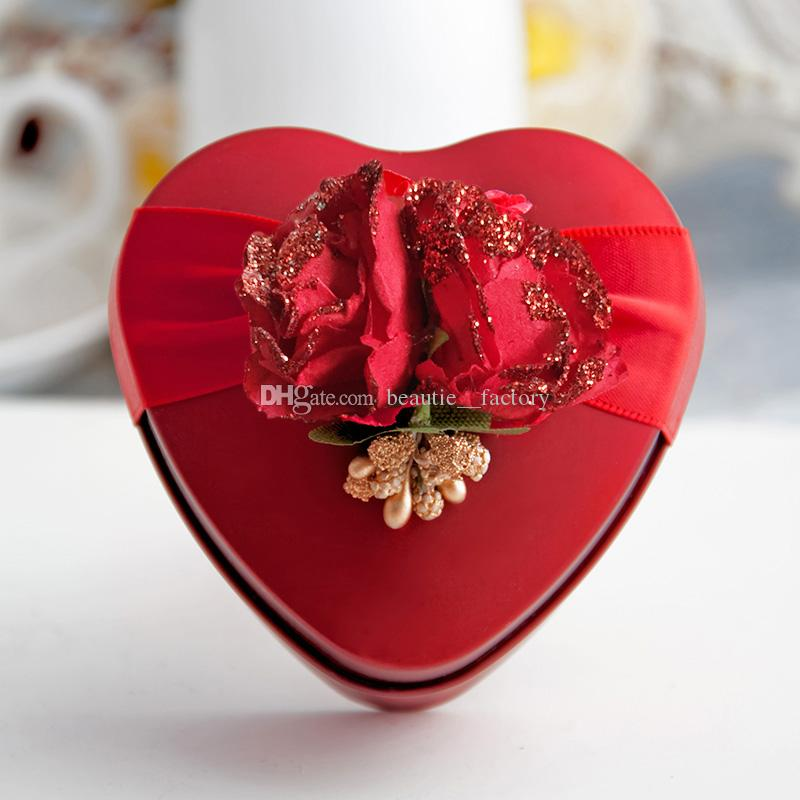 30pcs Metal Tin Heart Candy Boxes Flower Ribbon Wedding Favor Party Chocolate Box Unique and Beautiful Design