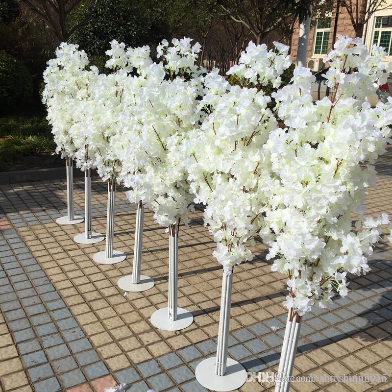 5 أطال ارتفاع أبيض زهر الكرز الاصطناعي شجرة العمود الروماني يؤدي الطريق لالوجهات الزفاف المفتوحة الدعائم