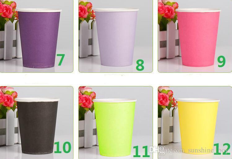 Einfarbige Papierschalen-Verdickung Farbe Papierbecher Tasse Urlaub Party Hochzeit Tasse 250ml 8.8oz 500pcs / lot