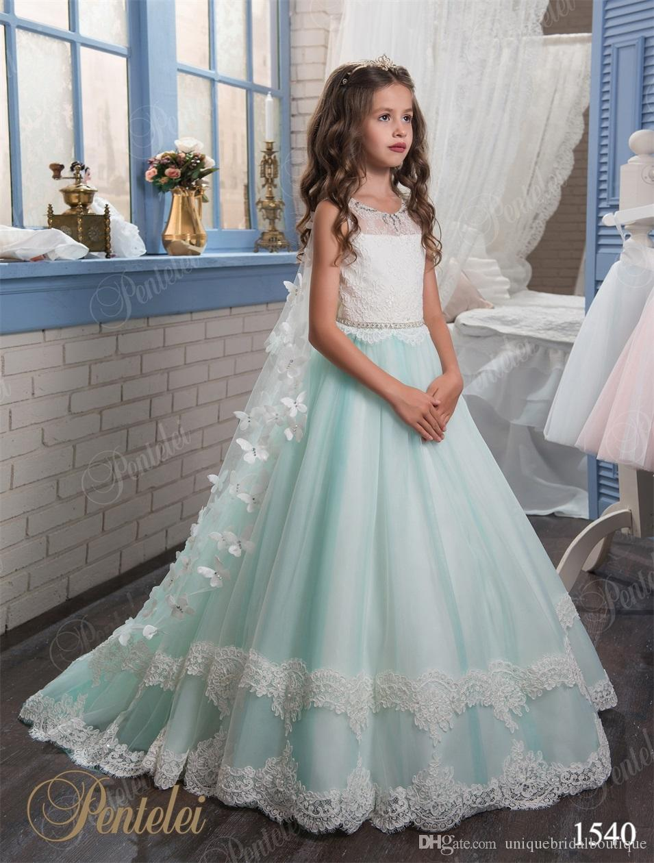 Mint Flower Girls Dresses With Wraps 2017 Pentelei With Keyhole Back ...
