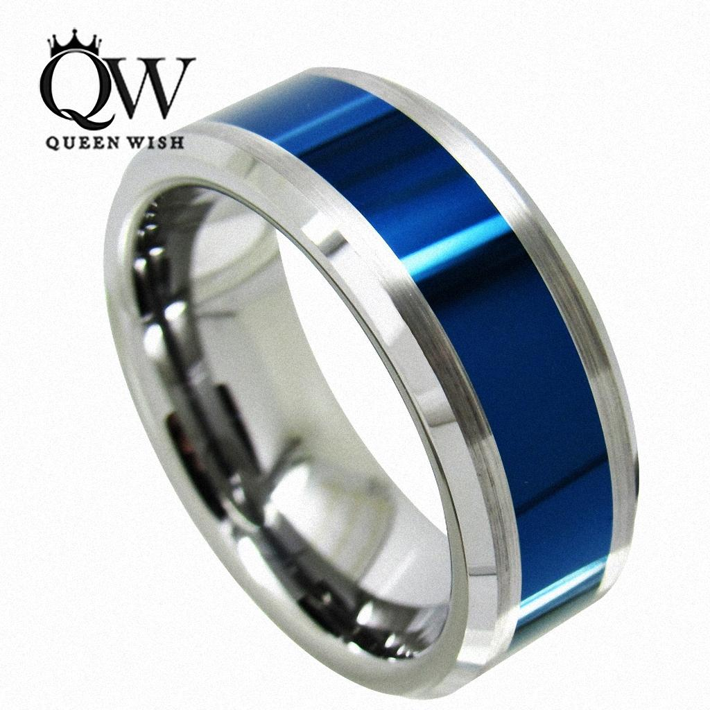 This is a picture of 30 Queenwish Men Wedding Bands Tungsten Carbide Ring Blue Polished Center Brushed 30mm Titanium Color Statement Luxury Anniversary Jewellry From