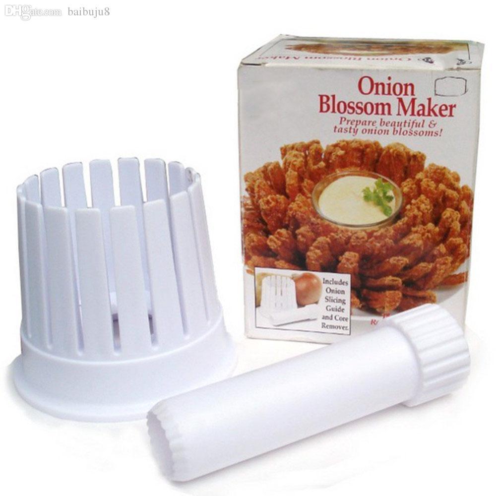 Wholesale-1 قطعة مطبخ البصل زهر صانع البصل القطاعة القاطع زهر صانع البلاستيك الأبيض 2 في 1 أدوات الفاكهة الخضار s2