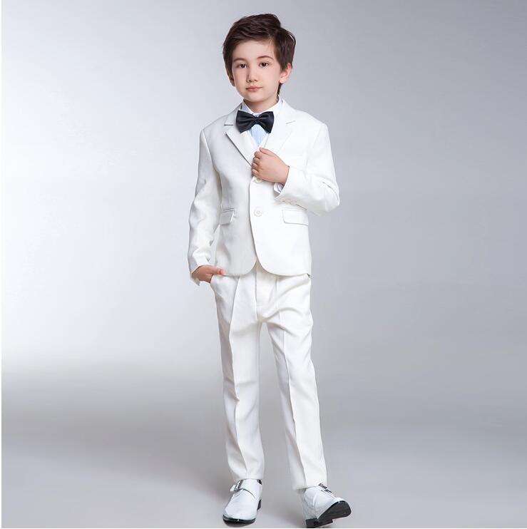 De alta calidad personalizado contratado traje de niño de moda blanco puro cultivar su moralidad clásico traje de niño (chaqueta + pantalones + chaleco)