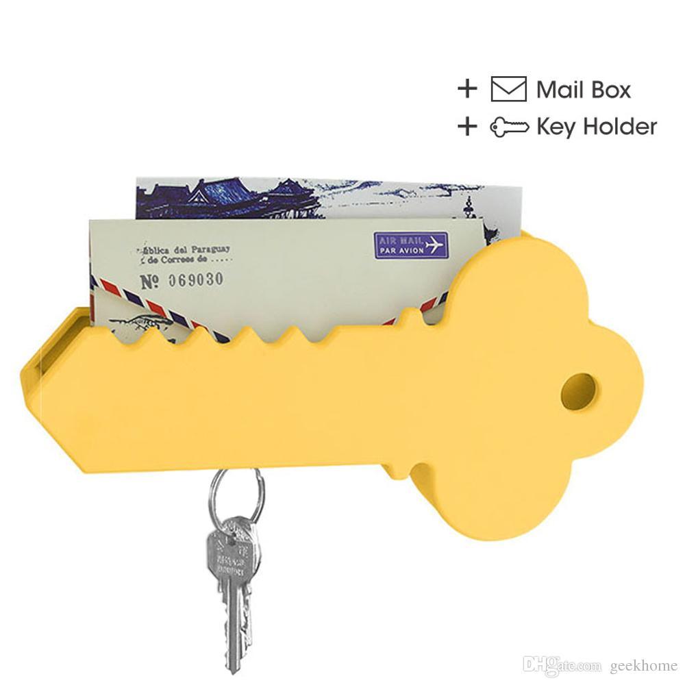 أحدث الإبداعي الحائط العملاق شكل مفتاح المغناطيسي حامل البريد المنظم صندوق المغلف عيد بطاقات المعايدة تخزين مربع ديكور المنزل