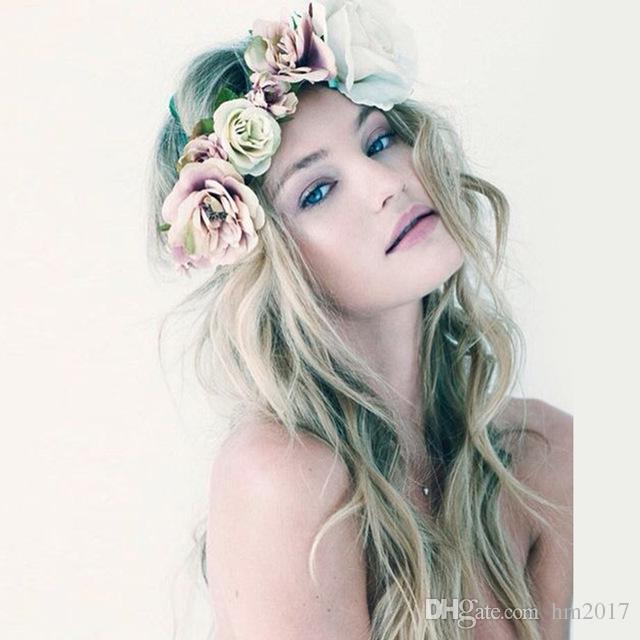 새로운 보헤미아 여성을위한 수제 꽃 크라운 웨딩 화환 신부 머리 장식 머리띠 헤어 밴드 헤어 밴드 액세서리 레이디