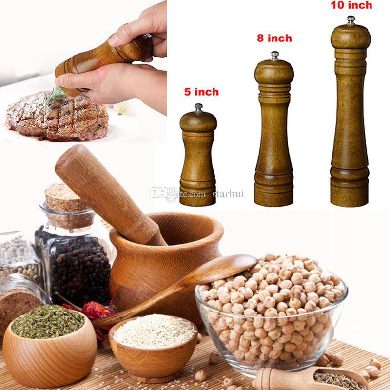 5/8/10 Inch Wooden Salt Pepper Grinders Salt Pepper Sauce Grinder Tool Mill Blender Muller Stick Pepper Mill Kitchen Tools WX9-101