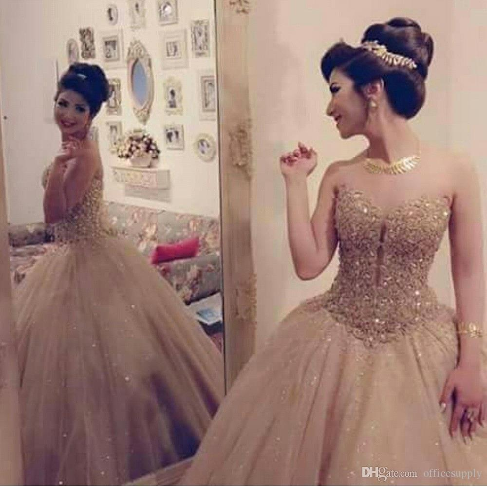 28efcf9a33eae Luxury Gold Sweetheart Neckline Tulle Ball Gown Princess Quinceanera Dress  With Lace Sequin Bodice Sweet 16 Dress Nice Dresses One Shoulder Dresses ...