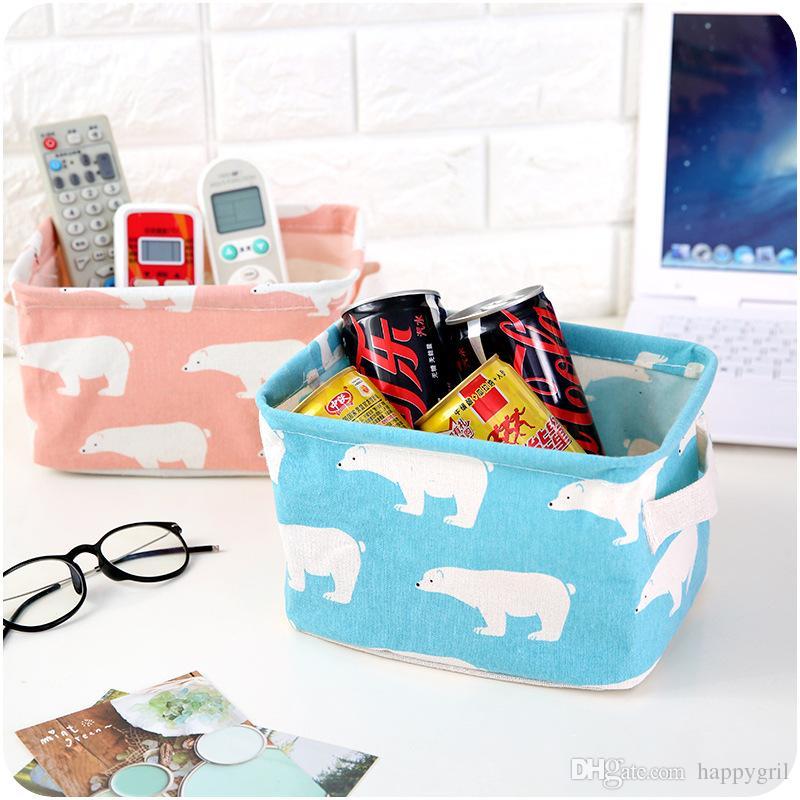 Linda impresión Algodón Lino Organizador de almacenamiento de escritorio Misceláneas Caja de almacenamiento Gabinete Canasta de almacenamiento Cesta de juguete creativo Organizador de lavandería de ropa