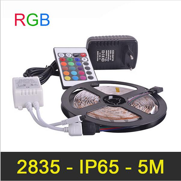Tira CONDUZIDA 300LED 5 M / lote SMD2835 2A À Prova D 'Água IP65 RGB DC12V Fonte de Alimentação IR Controle Remoto Natal RGB Tira Lâmpadas
