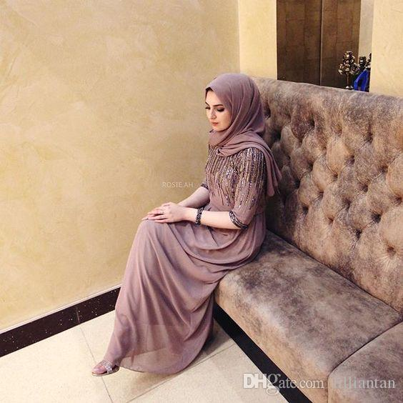 Exquisite Sequin Arabic Turkish Evening Dresses Hijab Beads Dubai Kaftan Half Long Sleeve Abaya Formal Party Gowns Celebrity Dress Custom