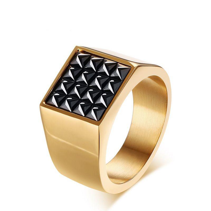 Aço inoxidável IP Banhado A Ouro Alta Polido Cubic Zironia Homens Anel Moda Jóias Anéis Acessórios Tamanho de Ouro 8-12