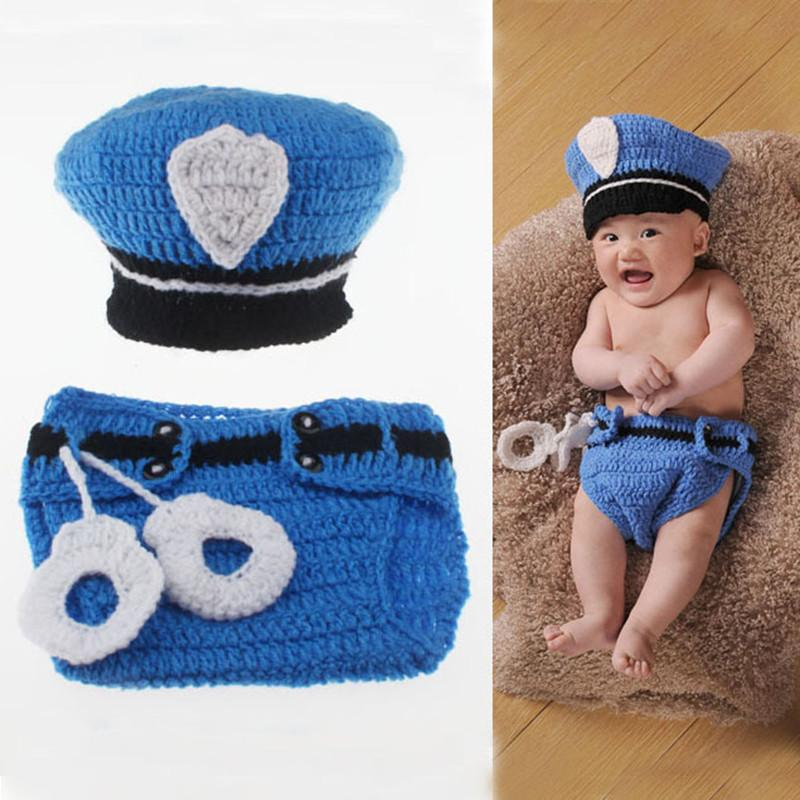 2016New Born Photography Props Baby Boys Cotton Thread PoliceMan Crochet Knitted Costume Outfit Winter Hat OnThe Boy New Arrival (3)
