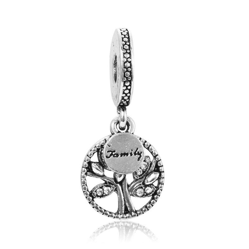 Fits Pandora Bracelets Charm Beads 925 Silver letter family round disc pendants Beads Big Hole women wedding charm for Charm Chain