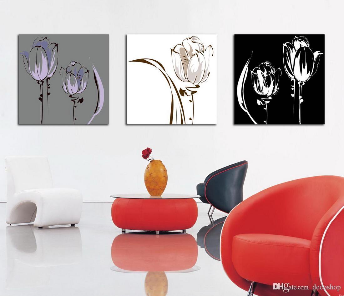 Modern Tulipa Gesneriana Flower Painting Giclee Print On Canvas Wall Art Home Decoration Set30211