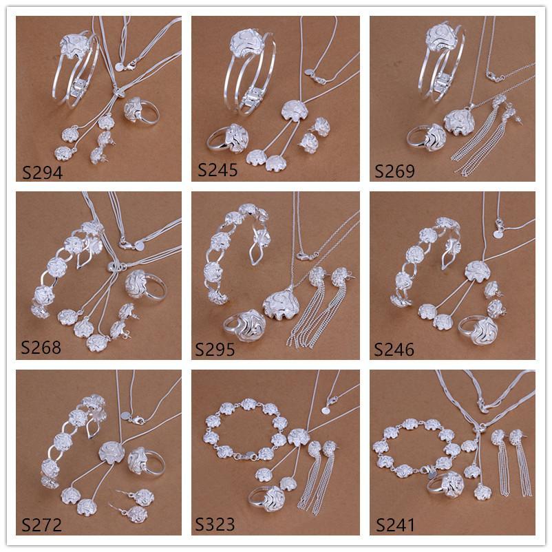 5 Sätze mischten Sterlingsilber-Plattenschmucksachen der Art und Weise 925 silberne Halsketten-Armband-Ohrring-Ringschmucksachen gesetztes GTS40 freies Verschiffen