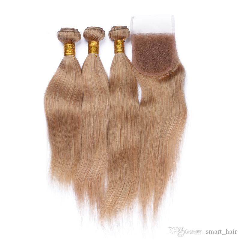 새 도착 꿀 금발 # 27 헤어 묶음 레이스 폐쇄 브라질 9A 스트레이트 인간의 머리카락으로 엮어 머리 3B는 레이스 폐쇄