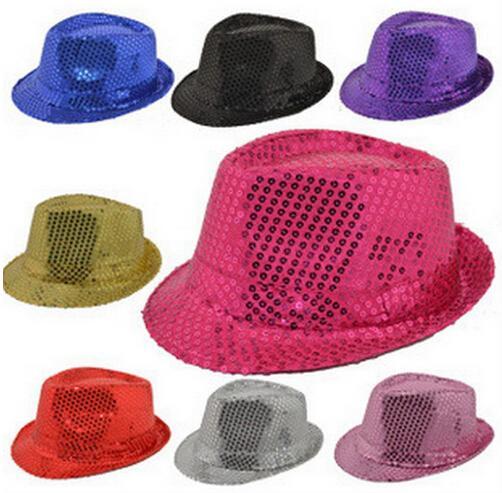 Erwachsene bunte Pailletten-Jazz-Hut-Stadiums-Aufführungs-Fedora-Hüte Polyester Crimping Christmas Day Magic Cap