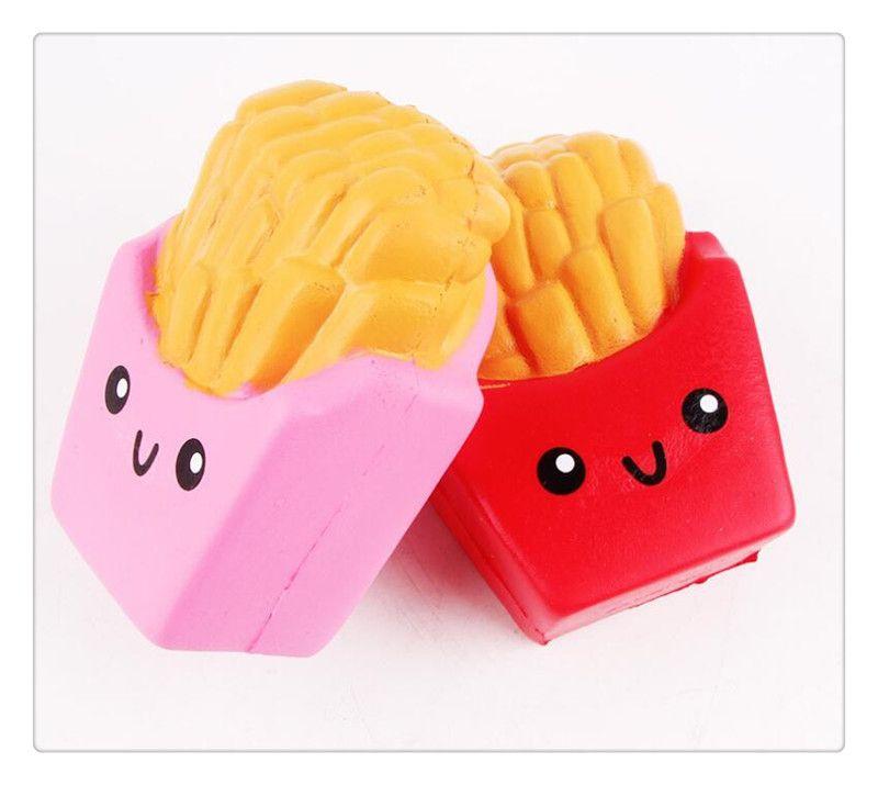 Toptan Kawaii Jumbo Squishy Patates Kızartması Yumuşak Kokulu Ekmek Kek Squishy Esneklik Streç Çocuk Oyuncak