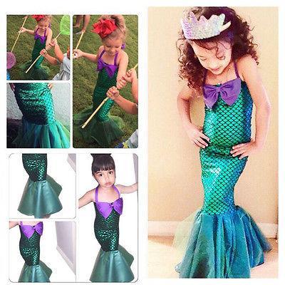 Compre La Sirenita Cola Princesa Ariel Vestido Cosplay Traje Niños Para Niña Elegante Vestido Verde Halloween Navidad Cosplay Traje A 844 Del