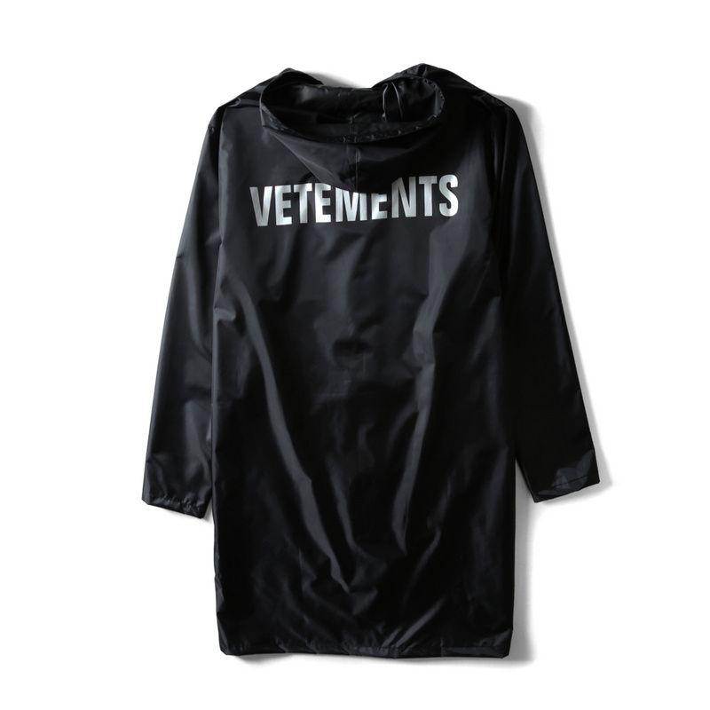 Toptan-2017 Vetements Mektup Baskılı Kadın Erkek Su Geçirmez Ceket Ceket Boy Faydalı Yağmurluk Hiphop Erkekler Ceketler Rüzgarlık