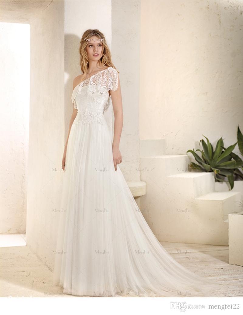2016 Tulle Sheath Wedding Dress With Florals Applique One Shoulder ...