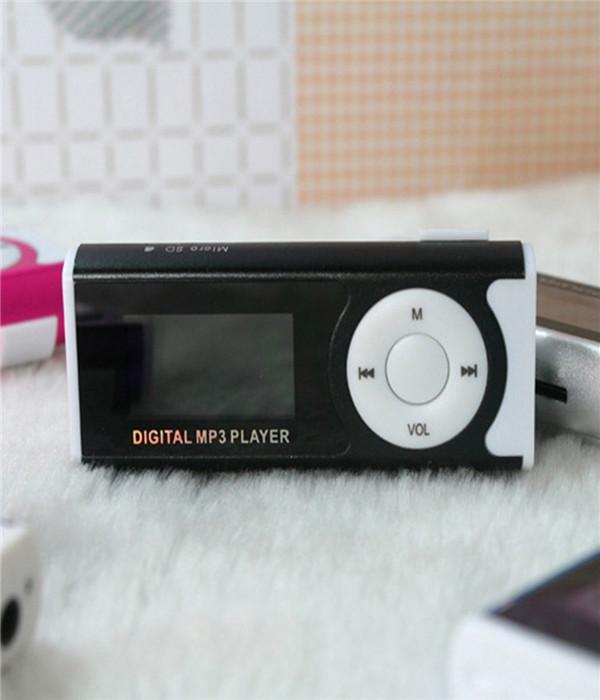 Mini Clip MP3 Player 16 Black LCD Screen Mini Clip MP3 Player Micro SD TF Card LED Light Trendy Shell Clip Type Design Small Volume Fashion