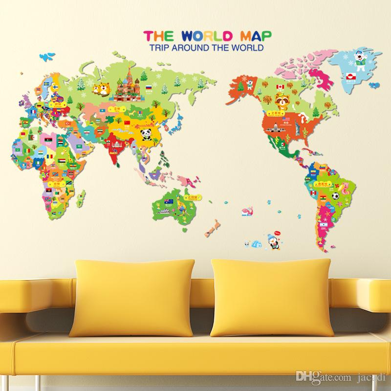 Dhl free shipping factory direct world map wall stickers kid room dhl factory direct world map wall stickers kid room home decoration cartoon animal wallpaper gumiabroncs Gallery