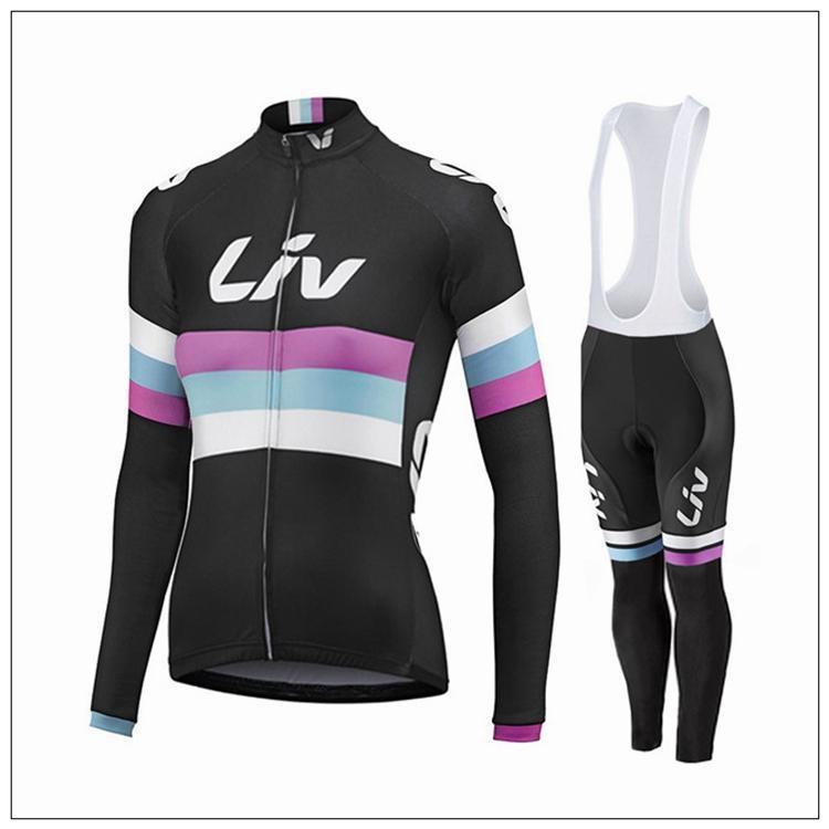 nuovo arriva 2016 nero Maglie ciclismo LIV Set donne autunno manica lunga abbigliamento bicicletta e (nessuno) pantaloni bavaglino comodi kit da ciclismo