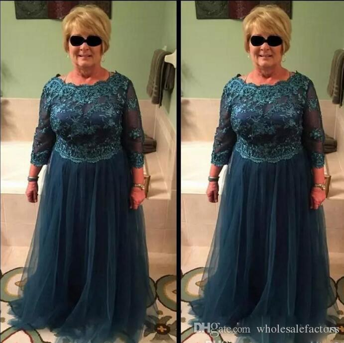 Plus Size A Line Mother Of Bride Dresses Long Sleeves Lace Top Mother Gowns  Jewel Neck Soft Tulle Mother Dresses Madre Installata Grey Mother Of The
