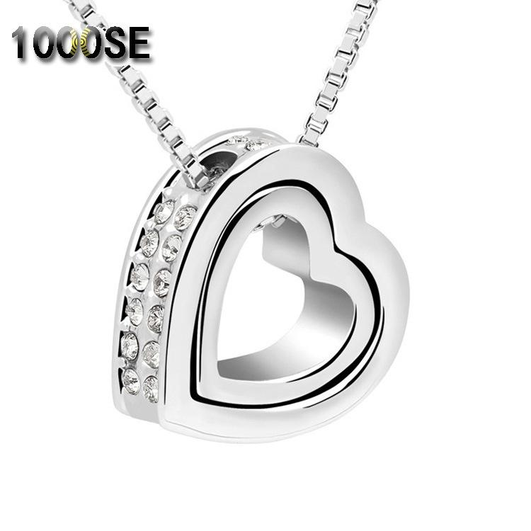 Eternal love crystal double heart-shaped Necklace short heart-shaped pendant jewelry wholesale in Europe