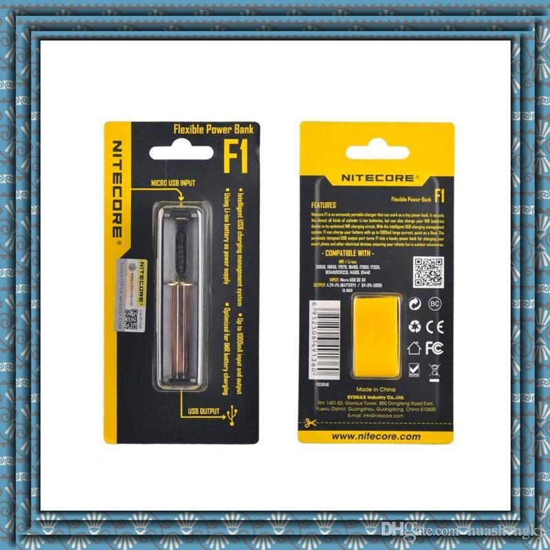 100 % 원래 정통 Nitecore Intellicharge F1 배터리 충전기 USB 충전기 18650 전자 담배에 대 한 배터리 충전기 DHL 무료