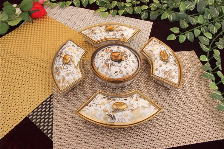 Ceramic fruit plate with lid fashion home decoration snacks dried fruit candy plate Rotation Chassis