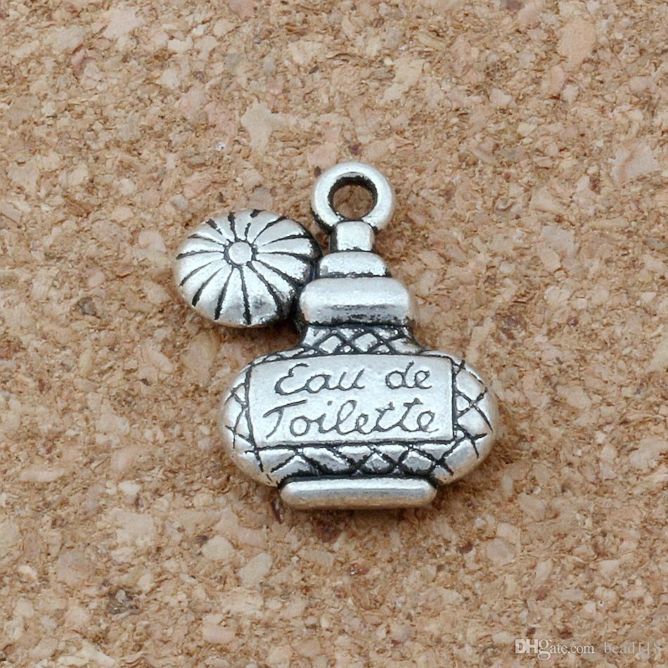 MIC 100pcs /1lot Antiqued Silver Alloy Eau de Toilette Perfume Bottle Charms 15x17.5mm DIY Jewelry