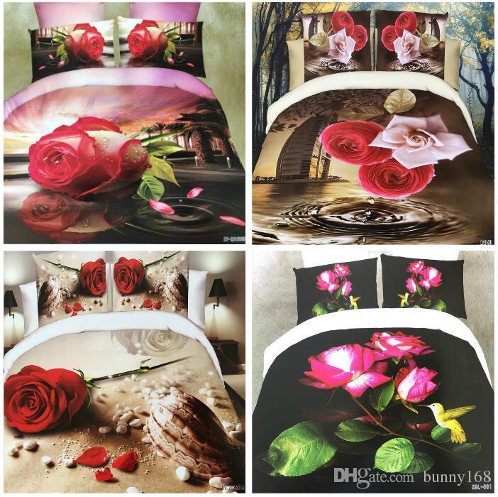 Постельные принадлежности 3D цветы реактивной печати хлопок 4 шт. постельные принадлежности пододеяльник пододеяльник/простыня наволочка постельное белье домашний текстиль