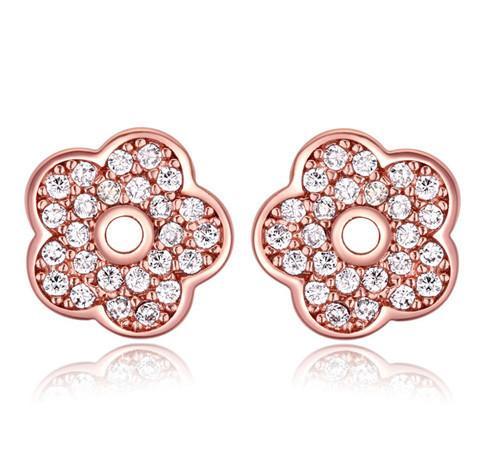 Boucles d'oreille Mode Femmes Exquise Qualité Zircon Plaqué Or 18K Fleurs Boucles D'oreilles Bijoux En Gros Drop Shipping TER049