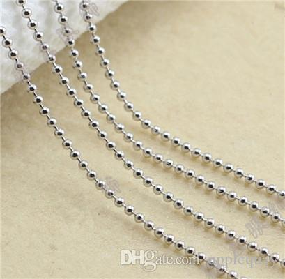 925 silver necklaces diy pendants sterling silver woman jewelry round ball chain white gold shiny fashion popular valentines gift 45cm 6 pcs