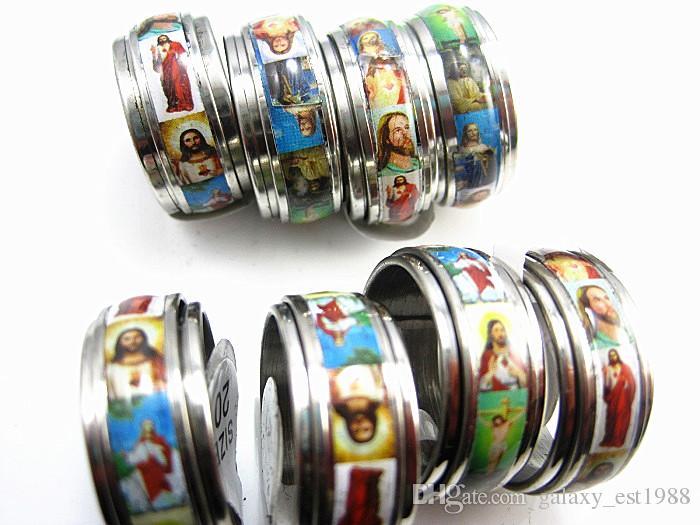 il lotto all'ingrosso 35pcs gli anelli del filatore dell'acciaio inossidabile degli uomini religiosi del Gesù Cristo brandnew di nuovo